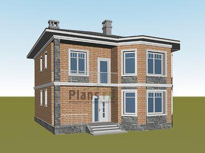 Проект двухэтажного дома 10x11 метров, общей площадью 147 м2, из керамических блоков, c террасой, котельной и кухней-столовой