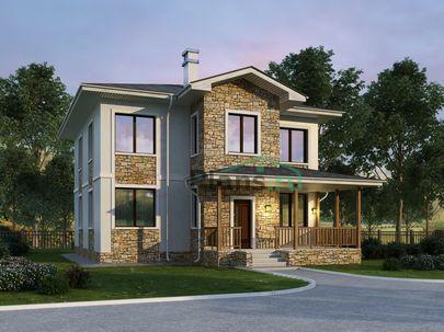Проект двухэтажного дома 10x11 метров, общей площадью 162 м2, из керамических блоков, c террасой, котельной и кухней-столовой