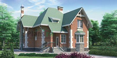 Проект двухэтажного дома 10x11 метров, общей площадью 181 м2, из кирпича, c террасой и кухней-столовой