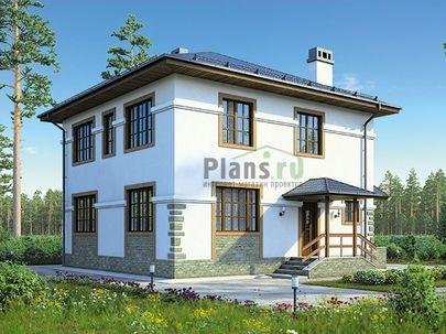 Проект двухэтажного дома 10x12 метров, общей площадью 144 м2, из кирпича, c террасой, котельной и кухней-столовой
