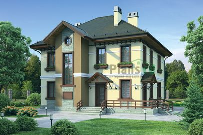 Проект двухэтажного дома 10x12 метров, общей площадью 156 м2, из керамических блоков, c террасой, котельной и кухней-столовой