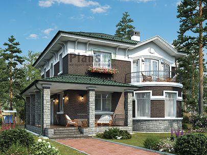 Проект двухэтажного дома 10x12 метров, общей площадью 161 м2, из кирпича, c террасой, котельной и кухней-столовой