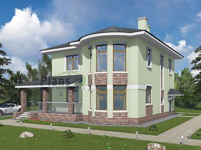 Проект двухэтажного дома 10x12 метров, общей площадью 166 м2, из кирпича, c террасой, котельной и кухней-столовой