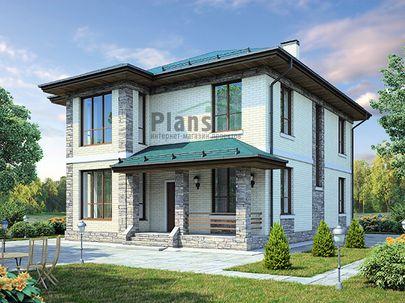 Проект двухэтажного дома 10x12 метров, общей площадью 167 м2, из газобетона (пеноблоков), c террасой, котельной и кухней-столовой