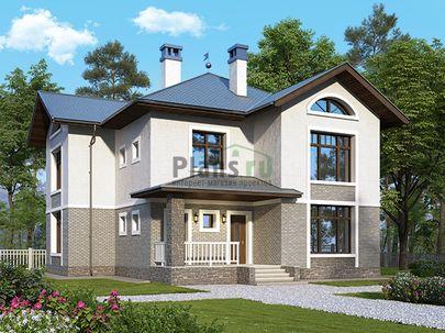Проект двухэтажного дома 10x12 метров, общей площадью 178 м2, из газобетона (пеноблоков), c террасой, котельной и кухней-столовой
