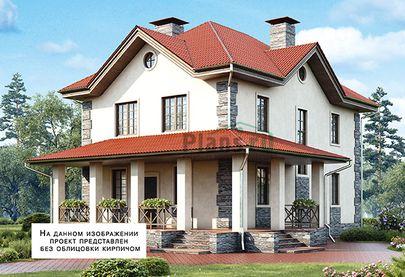 Проект двухэтажного дома 10x13 метров, общей площадью 127 м2, из газобетона (пеноблоков), c террасой, котельной и кухней-столовой