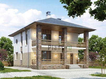 Проект двухэтажного дома 10x13 метров, общей площадью 142 м2, из керамических блоков, c террасой, котельной и кухней-столовой