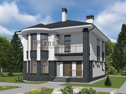 Проект двухэтажного дома 10x13 метров, общей площадью 183 м2, из газобетона (пеноблоков), c террасой, котельной и кухней-столовой