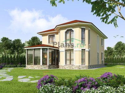 Проект двухэтажного дома 10x13 метров, общей площадью 187 м2, из керамических блоков, c зимним садом, котельной и кухней-столовой