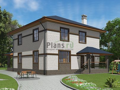 Проект двухэтажного дома 10x14 метров, общей площадью 163 м2, из кирпича, c террасой, котельной и кухней-столовой