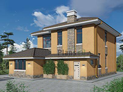 Проект двухэтажного дома 10x15 метров, общей площадью 183 м2, из газобетона (пеноблоков), c бассейном и котельной