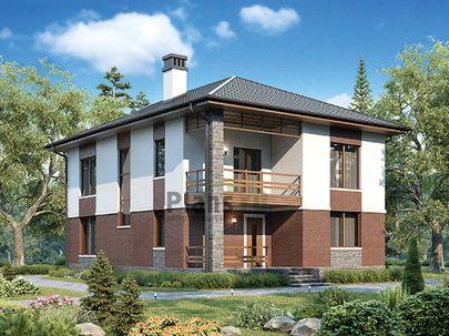 Проект двухэтажного дома 10x16 метров, общей площадью 181 м2, из газобетона (пеноблоков), c террасой, котельной и кухней-столовой