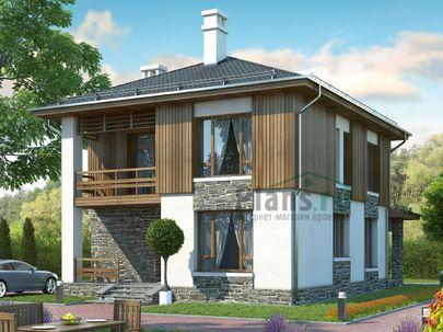 Проект двухэтажного дома 10x9 метров, общей площадью 119 м2, из газобетона (пеноблоков), c террасой и котельной