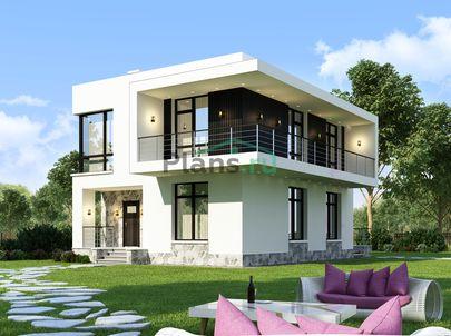 Проект двухэтажного дома 10x9 метров, общей площадью 132 м2, из керамических блоков, c террасой, котельной и кухней-столовой