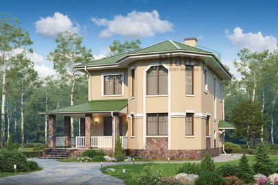 Проект двухэтажного дома 11x10 метров, общей площадью 117 м2, из кирпича, c террасой, котельной и кухней-столовой