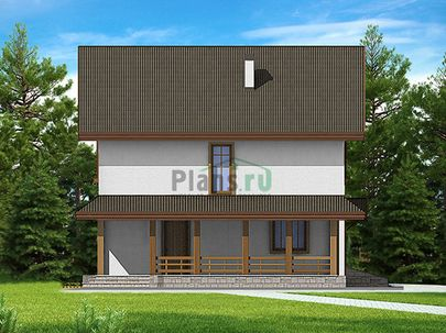 Проект двухэтажного дома 11x10 метров, общей площадью 120 м2, из газобетона (пеноблоков), c террасой, котельной и кухней-столовой