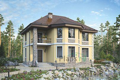Проект двухэтажного дома 11x10 метров, общей площадью 133 м2, из газобетона (пеноблоков), c террасой и котельной