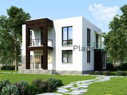 Проект двухэтажного дома 11x10 метров, общей площадью 152 м2, из керамических блоков, c террасой, котельной и кухней-столовой