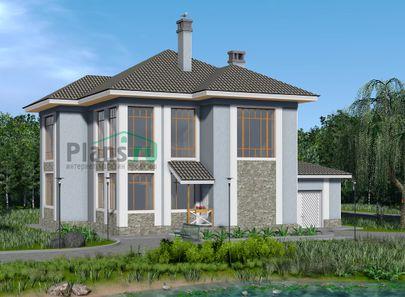 Проект двухэтажного дома 11x10 метров, общей площадью 187 м2, из газобетона (пеноблоков), со вторым светом, c гаражом, котельной и кухней-столовой
