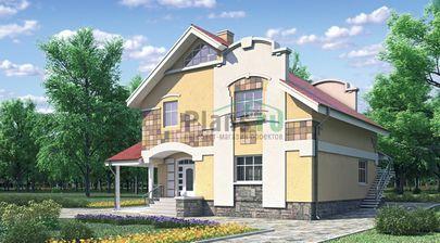Проект двухэтажного дома 11x10 метров, общей площадью 196 м2, из газобетона (пеноблоков), c террасой, котельной и кухней-столовой