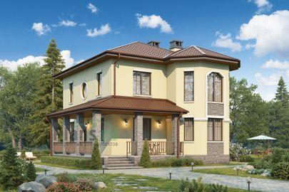 Проект двухэтажного дома 11x11 метров, общей площадью 134 м2, из кирпича, c террасой и котельной