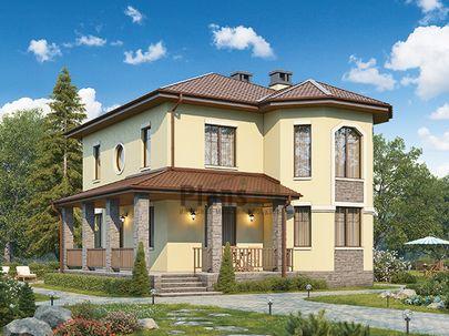 Проект двухэтажного дома 11x11 метров, общей площадью 135 м2, из кирпича, c террасой, котельной и кухней-столовой