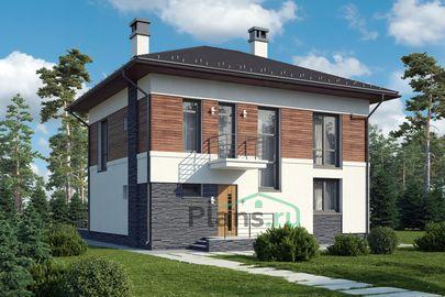 Проект двухэтажного дома 11x11 метров, общей площадью 144 м2, из газобетона (пеноблоков), со вторым светом, c террасой, котельной и кухней-столовой