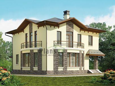 Проект двухэтажного дома 11x11 метров, общей площадью 160 м2, из керамических блоков, c террасой, котельной и кухней-столовой