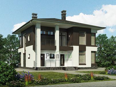 Проект двухэтажного дома 11x11 метров, общей площадью 173 м2, из газобетона (пеноблоков), c террасой, котельной и кухней-столовой