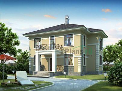 Проект двухэтажного дома 11x11 метров, общей площадью 183 м2, из кирпича, c котельной