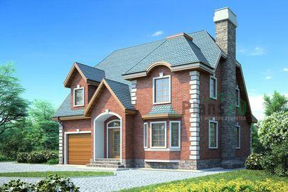 Проект двухэтажного дома 11x11 метров, общей площадью 185 м2, из газобетона (пеноблоков), c гаражом и котельной