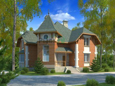 Проект двухэтажного дома 11x11 метров, общей площадью 203 м2, из керамических блоков, c лоджией и кухней-столовой