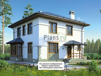 Проект двухэтажного дома 11x12 метров, общей площадью 138 м2, из кирпича, c террасой, котельной и кухней-столовой