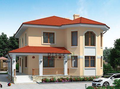Проект двухэтажного дома 11x12 метров, общей площадью 155 м2, из кирпича, c террасой, котельной и кухней-столовой