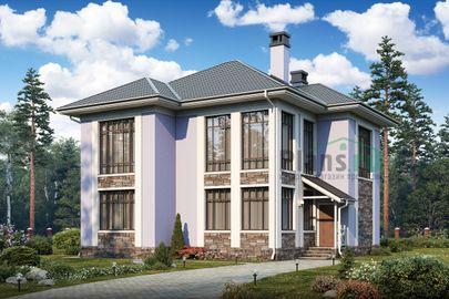Проект двухэтажного дома 11x12 метров, общей площадью 159 м2, из газобетона (пеноблоков), со вторым светом, c котельной и кухней-столовой