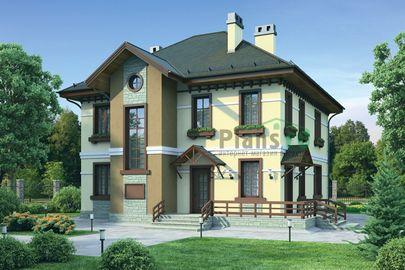 Проект двухэтажного дома 11x12 метров, общей площадью 167 м2, из кирпича, c террасой, котельной и кухней-столовой