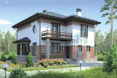 Проект двухэтажного дома 11x12 метров, общей площадью 169 м2, из газобетона (пеноблоков), c террасой, котельной и кухней-столовой