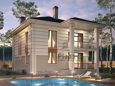 Проект двухэтажного дома 11x12 метров, общей площадью 174 м2, из керамических блоков, c террасой, котельной и кухней-столовой