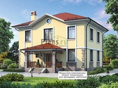Проект двухэтажного дома 11x12 метров, общей площадью 177 м2, из газобетона (пеноблоков), c террасой, котельной и кухней-столовой