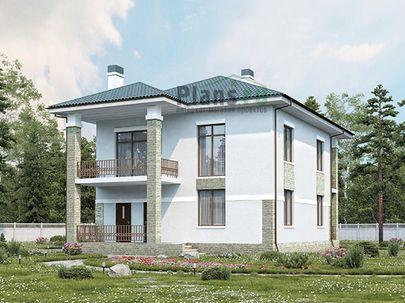 Проект двухэтажного дома 11x12 метров, общей площадью 180 м2, из газобетона (пеноблоков), c террасой, котельной и кухней-столовой