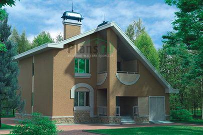 Проект двухэтажного дома 11x12 метров, общей площадью 182 м2, из газобетона (пеноблоков), c гаражом, котельной, лоджией и кухней-столовой