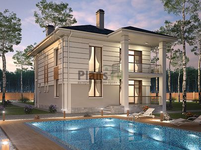 Проект двухэтажного дома 11x12 метров, общей площадью 182 м2, из газобетона (пеноблоков), c террасой, котельной и кухней-столовой