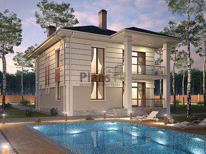 Проект двухэтажного дома 11x12 метров, общей площадью 182 м2, из керамических блоков, c террасой, котельной и кухней-столовой