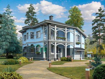 Проект двухэтажного дома 11x12 метров, общей площадью 190 м2, из газобетона (пеноблоков), c гаражом, террасой, котельной и кухней-столовой