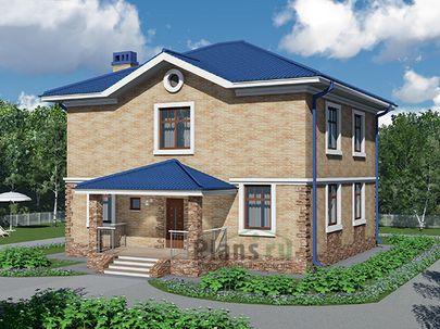 Проект двухэтажного дома 11x13 метров, общей площадью 180 м2, из газобетона (пеноблоков), c террасой, котельной и кухней-столовой