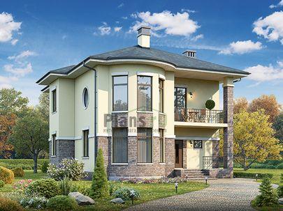 Проект двухэтажного дома 11x13 метров, общей площадью 186 м2, из керамических блоков, c террасой, котельной и кухней-столовой