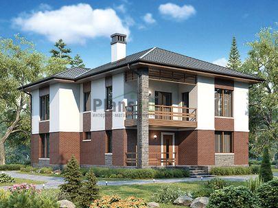 Проект двухэтажного дома 11x13 метров, общей площадью 195 м2, из газобетона (пеноблоков), c террасой, котельной и кухней-столовой