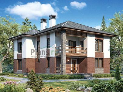 Проект двухэтажного дома 11x13 метров, общей площадью 196 м2, из керамических блоков, c террасой, котельной и кухней-столовой
