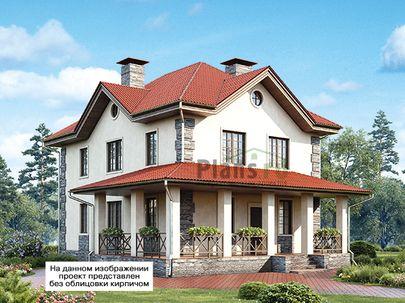 Проект двухэтажного дома 11x14 метров, общей площадью 139 м2, из керамических блоков, c террасой, котельной и кухней-столовой