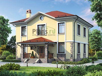 Проект двухэтажного дома 11x14 метров, общей площадью 179 м2, из газобетона (пеноблоков), c террасой, котельной и кухней-столовой